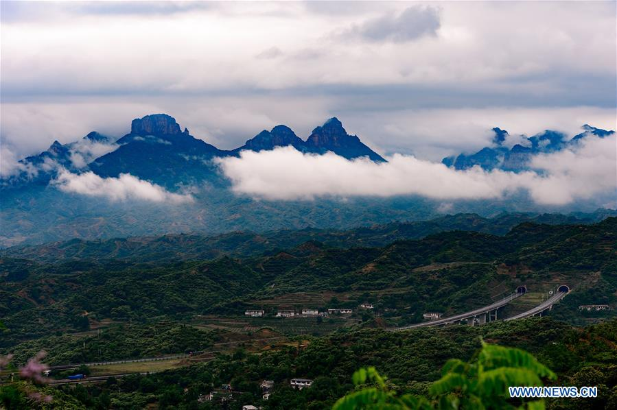 Scenery of cloud-shrouded Taihang Mountain in N China's Hebei